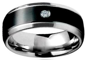Двухцветное стальное мужское кольцо с кубиком циркона - фото overstock.com