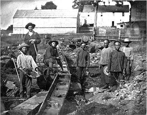 Белые и китайцы. Добыча золота в Калифорнии. 1852 г.