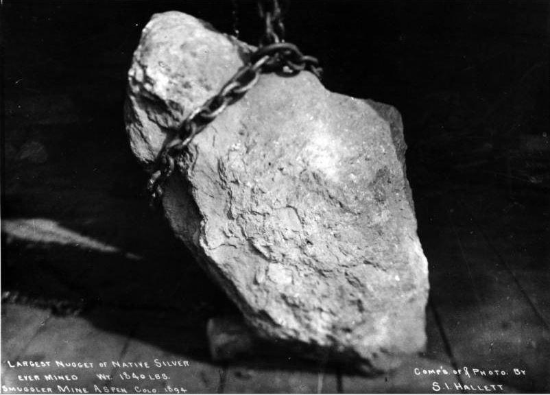 Самый большой самородок серебра. Фото Denver Library.