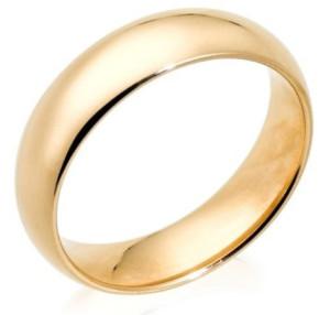 Классическое свадебное кольцо из желтого золота