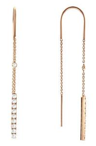 Серьги-протяжки золотые с бриллиантами