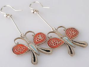 Эквадорские серьги-бабочки из серебряной филиграни