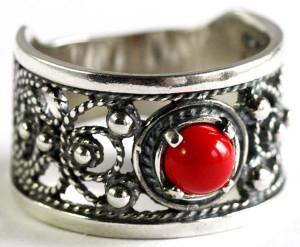 Серебряное кольцо литьё в стиле филиграни, Яспис