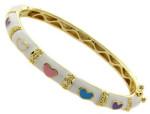 Детский браслет-обруч с золотым покрытием и сердцами - фото-overstock.com