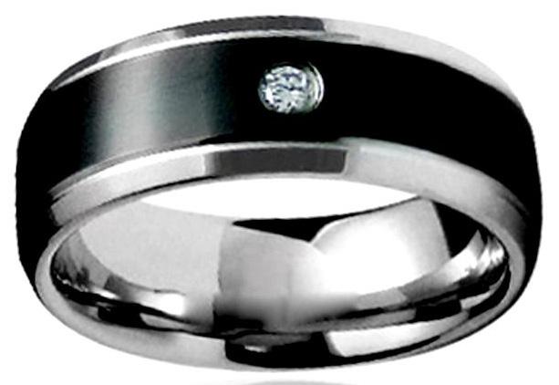 Двухцветное стальное мужское кольцо с кубиком циркона - фото overstock.com Мужское  серебряное кольцо с бриллиантами ... 3648921059b