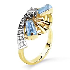 Кольцо с бриллиантами и топазами