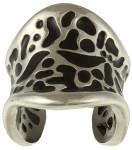 Мужское дизайнерское незамкнутое кольцо из стали с черной эмалью - фото overstock.com