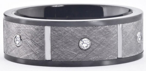 Мужское кольцо из керамики и вольфрама - фото overstock.com