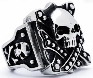 Мужское кольцо из ювелирной стали с черепом в винтажном стиле - фото Overstock.com