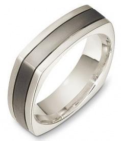Мужское-обручальное-кольцо-квадратной-формы-из-титана-и-белого-золота