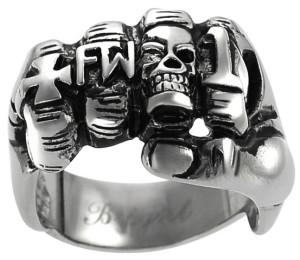 Мужское стальное кольцо для байкеров Кулак - фото overstock.com