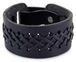 Мужской кожаный широкий браслет-манжета со шнуровкой - фото overstock.com