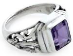 Мужской серебряный перстень с аметистом - фото overstock.com