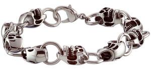 Мужской стальной браслет с черепами - фото overstock.com