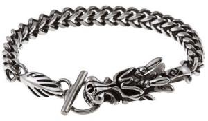 Мужской стальной браслет стилизованный под дракона - фото overstock.com