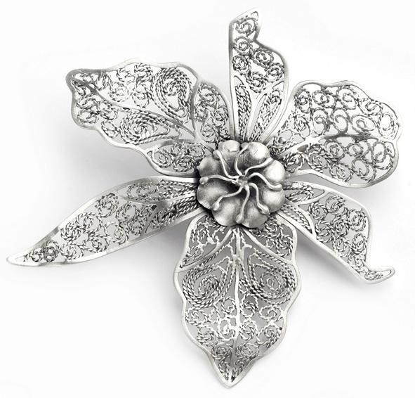 Серебряная филигранная брошь в стиле модерн, авторская работа-фото gras.co.il