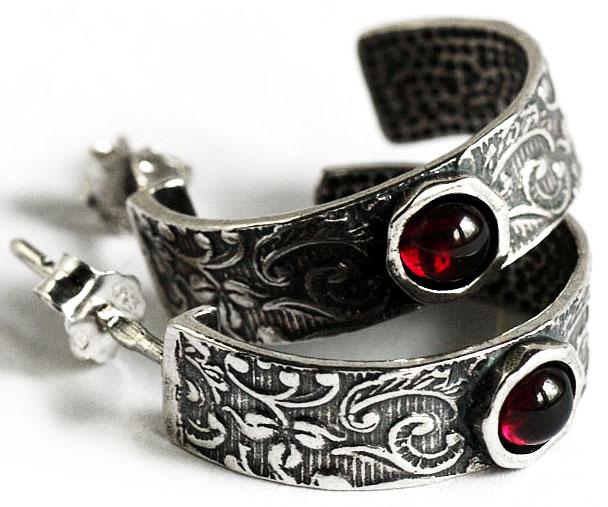 Серьги из чернёного серебра в стиле этно, Израиль