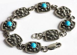 Черненый браслет из серебра, Яспис, Санкт-Петербург