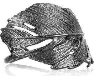 Кольцо в форме вороньего пера покрытое рутением - polyvore.com