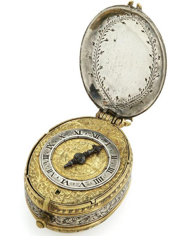 Часы с одной стрелкой. Серебро, позолота. 1630 г. Фото - Sothebys.com