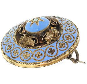Брошь 19 века покрытая голубой эмалью - beladora.com