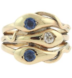 Кольцо три змеи с сапфирами и бриллиантом - beladora.com