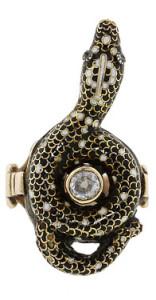 Кольцо в форме змеи 19 век - beladora.com