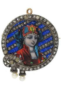 Брошь 19 века с бриллиантами и лиможской эмалью - beladora.com