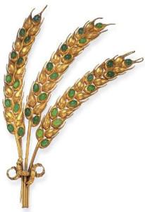 Брошь из золота и христопразов в виде веточек пшеницы 1820г.--christies.com