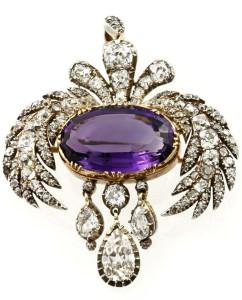 Брошь в стиле ампир из аметиста и бриллиантов 1810г.--bentley-skinner.co.uk