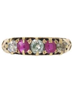 Кольцо с голубыми бриллиантами и рубинами 19 век_beladora.com