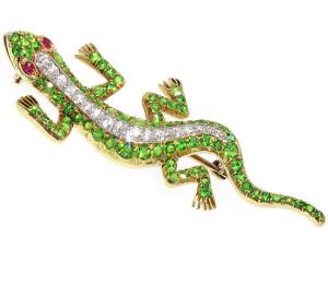 Викторианская брошь-саламандра с демантоидами, гранатами и бриллиантами - beladora.com
