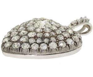 Кулон-сердце с бриллиантами из золота и серебра 19в.-beladora.com