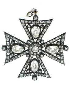 Брошь в форме мальтийского креста с бриллиантами -1845г.---beladora.com