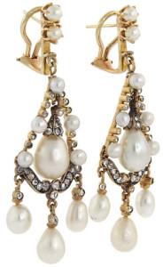 Викторианские серьги из натурального и культивированного жемчуга, вставки - бриллианты, 1850---beladora.com