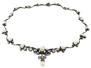 Колье из натурального жемчуга и бриллиантов, 19 век - beladora.com