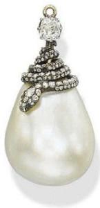 Подвеска-капля из жемчужины модного дома House-of-Chaumet 18 век---artfact.com