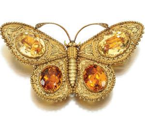 Брошь-бабочка из олота и цитринов нач.19 в. -sothebys.com