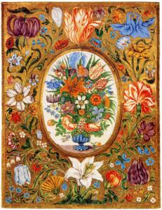 Обратная-сторона-зеркальца-расписанная-цветочной-эмалью---барокко-17-век---langantiques.com
