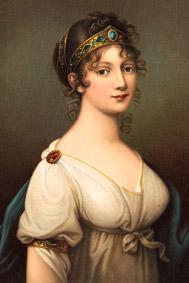 Королева Пруссии Луиза в типичном для стиля классицизм платье с диадемой, браслетом на предплечье и брошью на плечеe 1802г. - langantiques.com