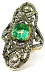 Кольцо с изумрудом и бриллиантами, золото и серебро, 1820г.--regine-giroud.ch
