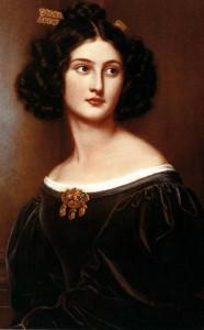 Ранний-романтизм-портрет Nanette Heine в золотой броши-жирандоль и золотой стрелой в волосах - beladora.com