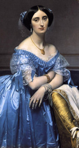 Ранний-романтизм-портрет принцессы de Broglie в золотой подвеске в стиле этрусков, золотом браслете, чемчужных серьгах-Gold-Braclelet, и многорядном жемчужном браслете - beladora.com