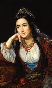 Романтизм периода гранд - портрет женщины середины 19 века в украшениях из коралла---beladora.com