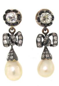 Серьги-банты-с-натуральными-жемчужинами-и-бриллиантами,-золото-и-серебро,-19-век---beladora.com