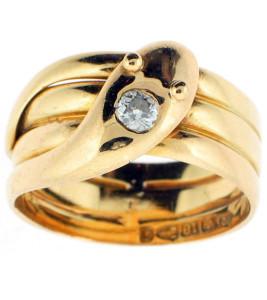 Золотое-кольцо-змейка-с-бриллиантом,-19в.---beladora.com