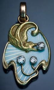 Золотая подвеска с эмалью ар нуво--romanovrussia.com