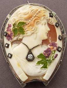 Камея-викторианская-брошь-подкова-с-эмалью-и-бриллиантами---etsy.com