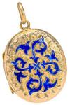 Медальон-с-ярко-синей-эмалью---1910г.---georgianjewelry.com
