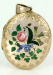 Антикварный медальон с цветочной росписью -1900---kalmarantiques.com.au